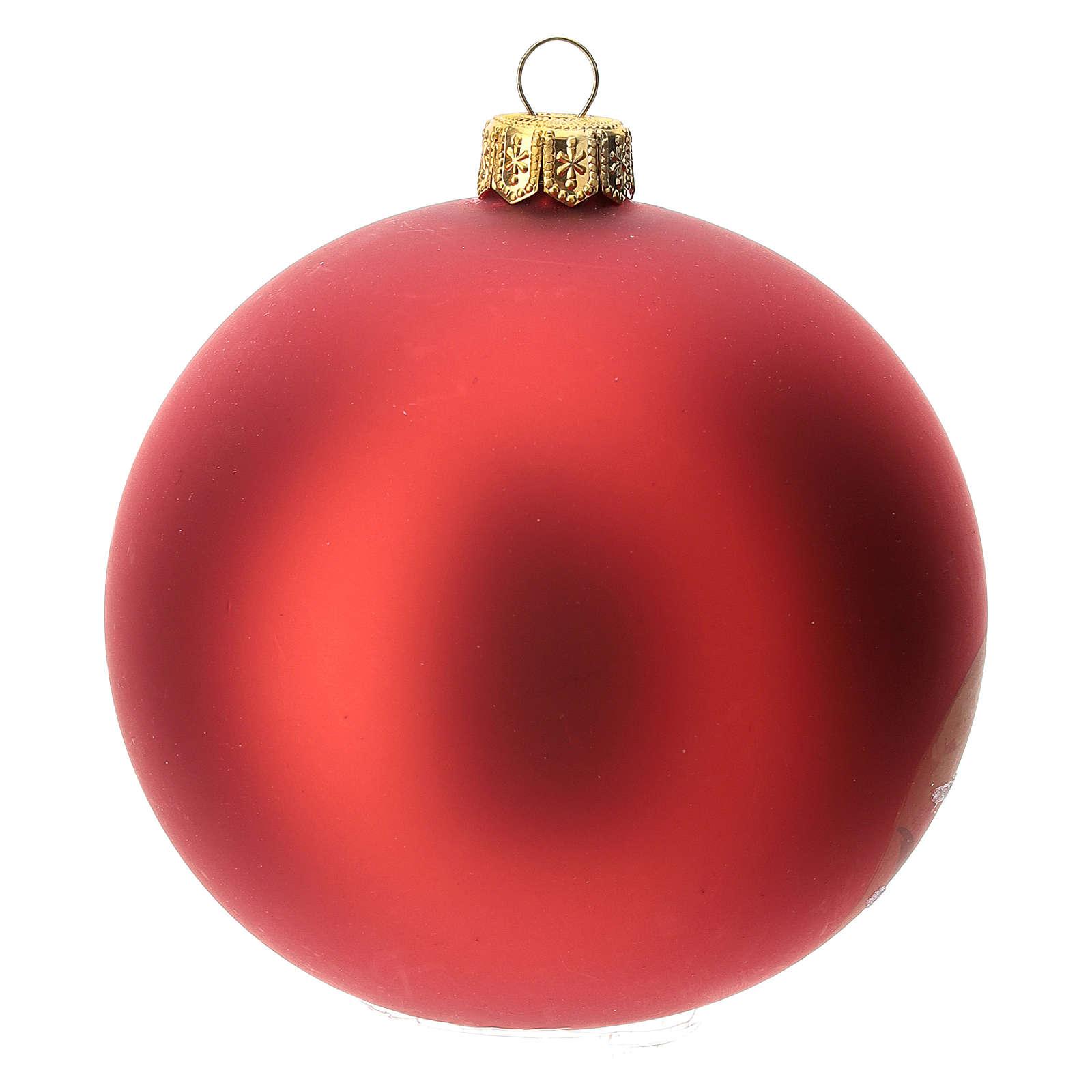 Bola árbol Navidad vidrio soplado roja decoración papá Noel 100 mm 4