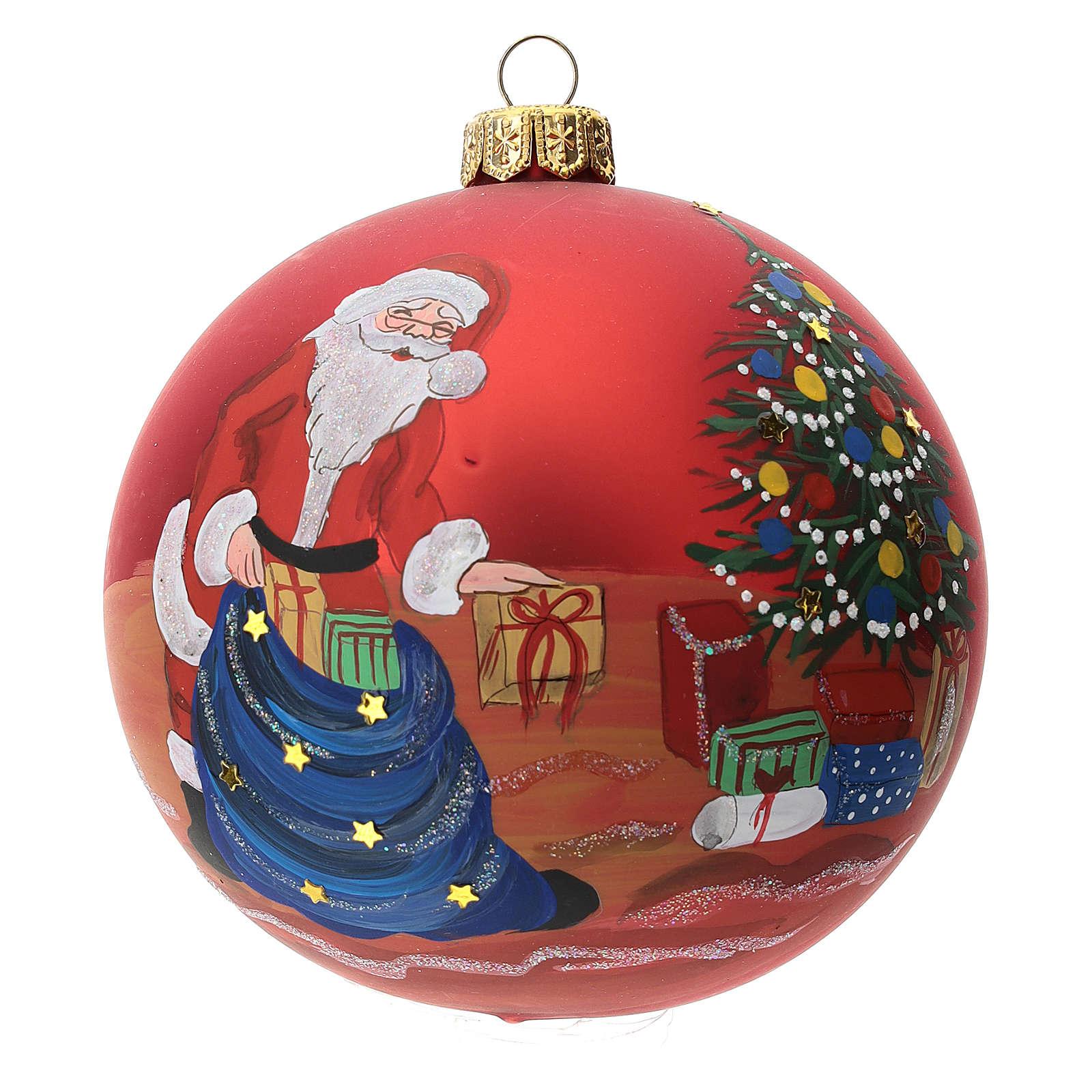 Palla albero Natale vetro soffiato rossa decoro babbo Natale 100 mm 4