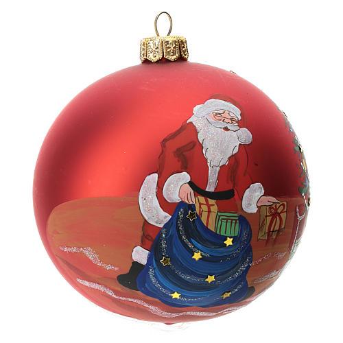 Palla albero Natale vetro soffiato rossa decoro babbo Natale 100 mm 2