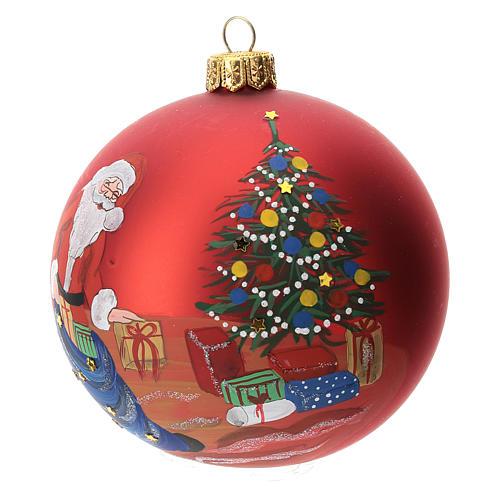 Palla albero Natale vetro soffiato rossa decoro babbo Natale 100 mm 3