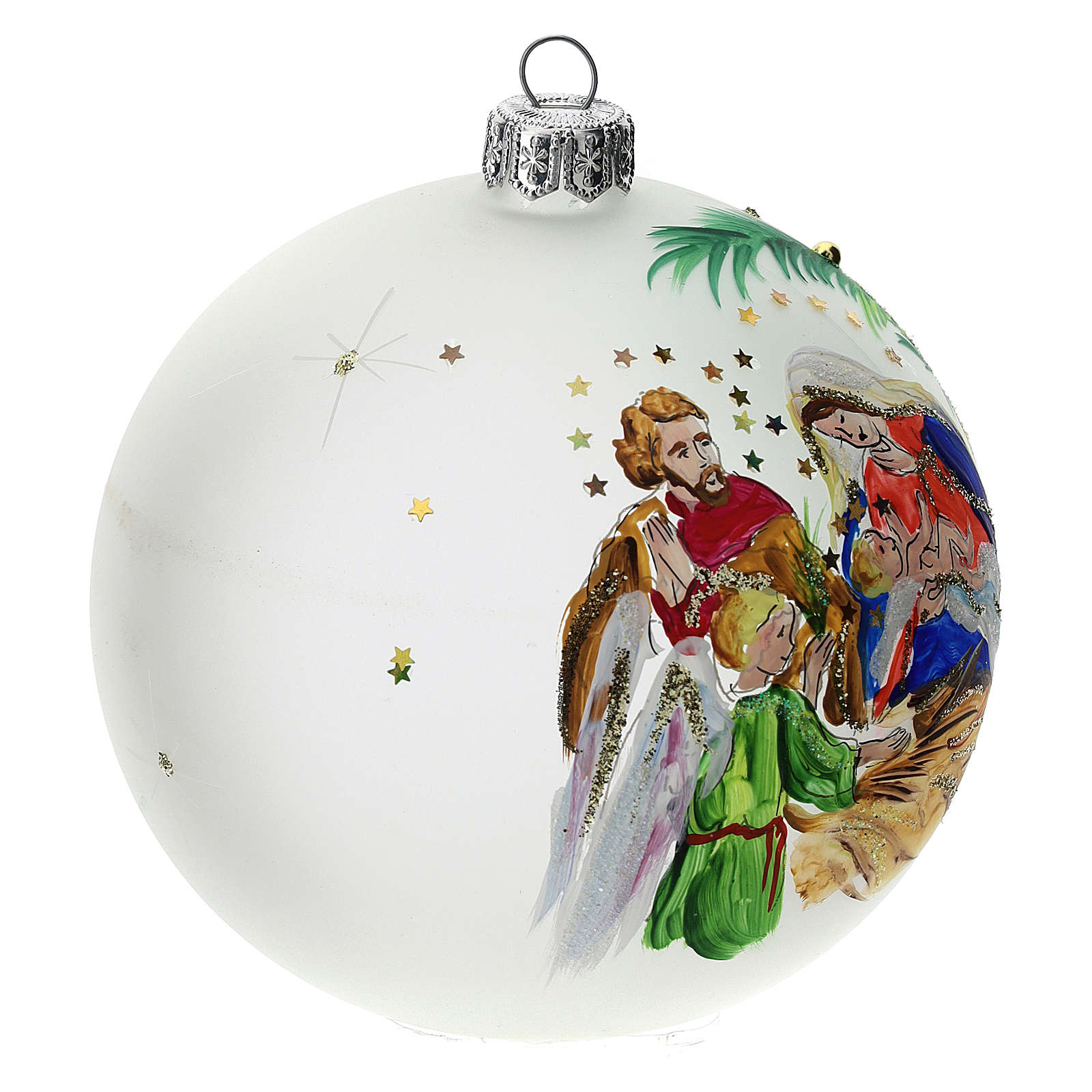 Christmas tree ball in blown glass: stars, 100 mm 4