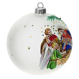 Bola árbol Navidad vidrio soplado opaca motivo estrellas 100 mm s2