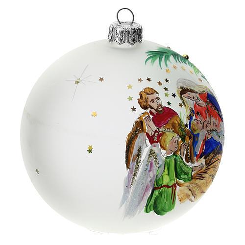 Bola árbol Navidad vidrio soplado opaca motivo estrellas 100 mm 2