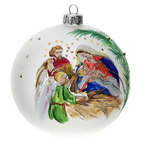 Palla albero Natale vetro soffiato opaca S. Famiglia 100 mm 1