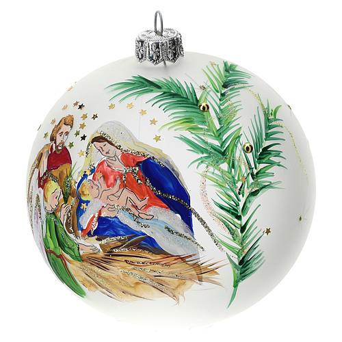 Palla albero Natale vetro soffiato opaca S. Famiglia 100 mm 3