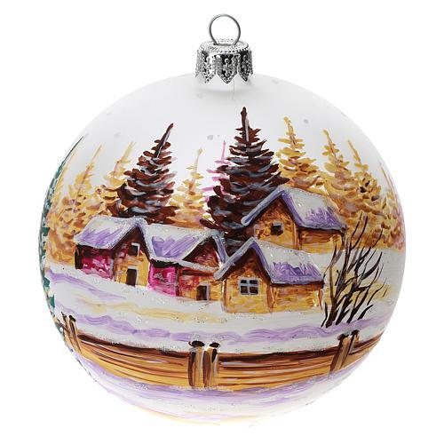 Palla albero Natale vetro soffiato opaca decoro città innevata 100 mm 1
