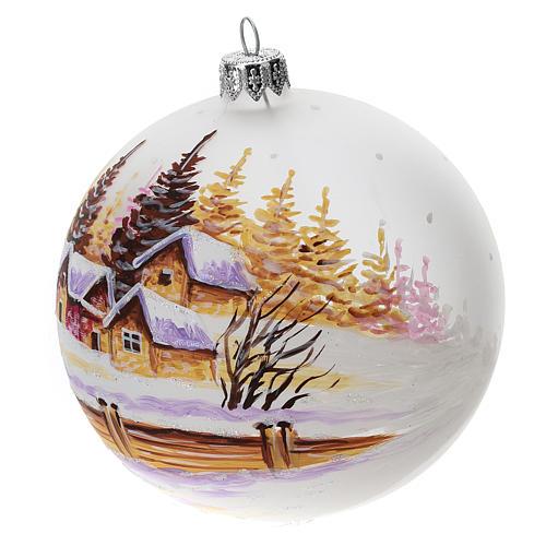 Palla albero Natale vetro soffiato opaca decoro città innevata 100 mm 2