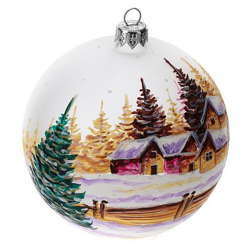 Palla albero Natale vetro soffiato opaca decoro città innevata 100 mm 3