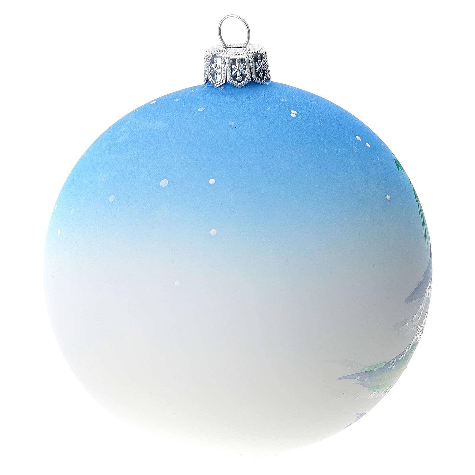 Bola árbol Navidad vidrio soplado azul motivo ciudad árabe 100 mm 4