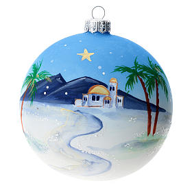 Bola árbol Navidad vidrio soplado azul motivo ciudad árabe 100 mm s1