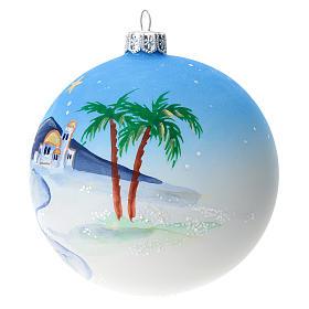 Bola árbol Navidad vidrio soplado azul motivo ciudad árabe 100 mm s2