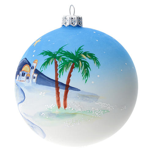 Bola árbol Navidad vidrio soplado azul motivo ciudad árabe 100 mm 2