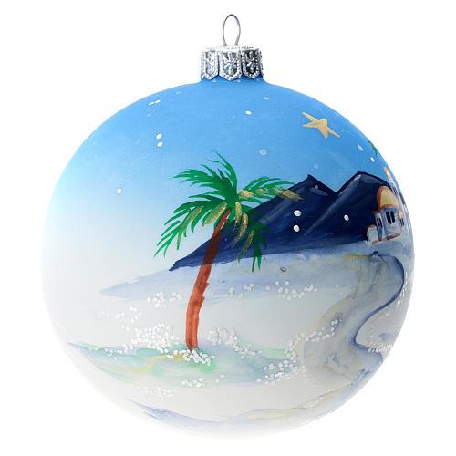 Bola árbol Navidad vidrio soplado azul motivo ciudad árabe 100 mm 3