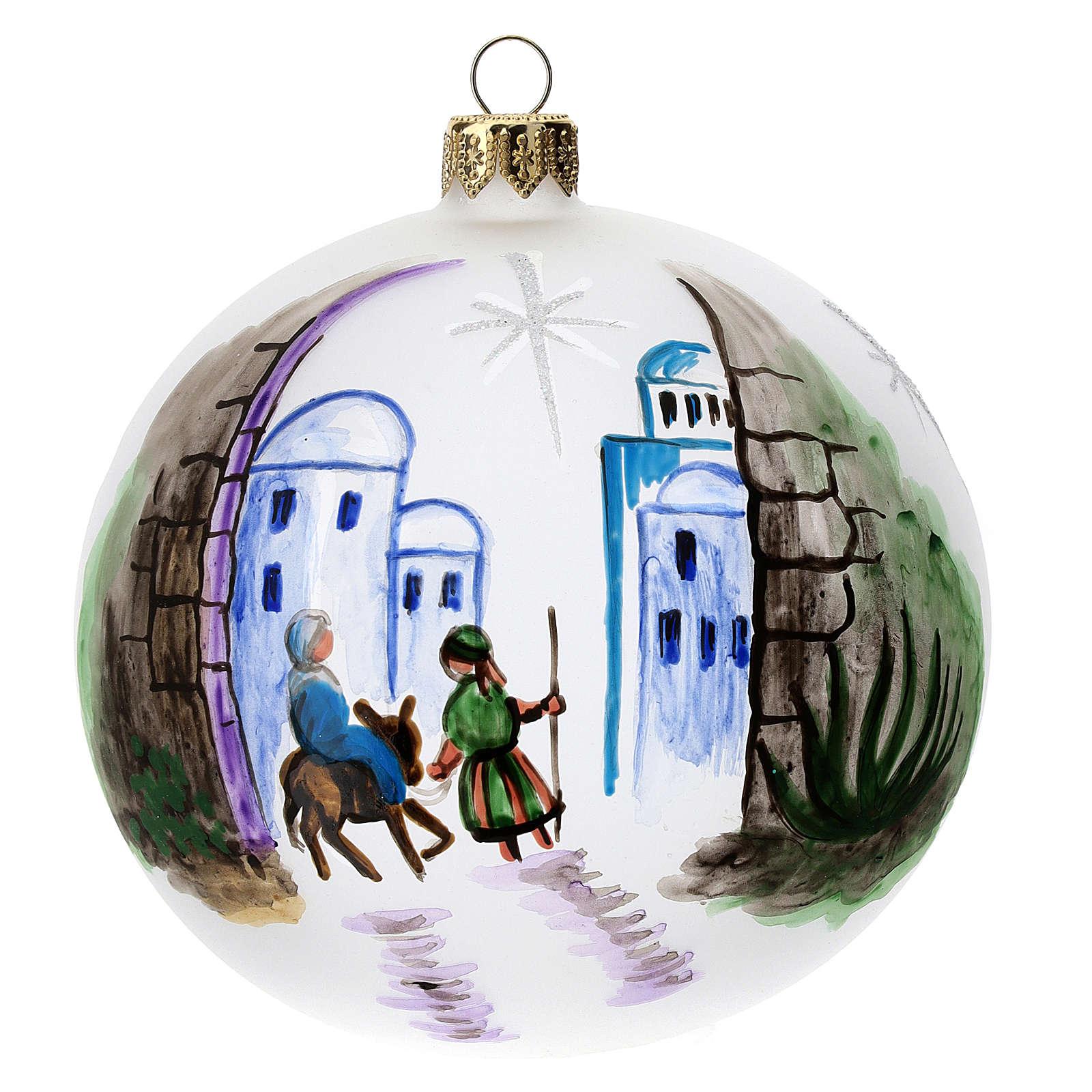 Bola árbol Navidad vidrio soplado opaca motivo Belén 100 mm 4