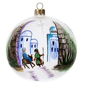 Bola árbol Navidad vidrio soplado opaca motivo Belén 100 mm s1