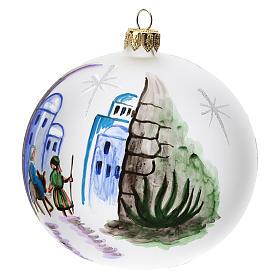 Bola árbol Navidad vidrio soplado opaca motivo Belén 100 mm s2
