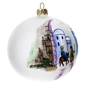 Bola árbol Navidad vidrio soplado opaca motivo Belén 100 mm s3