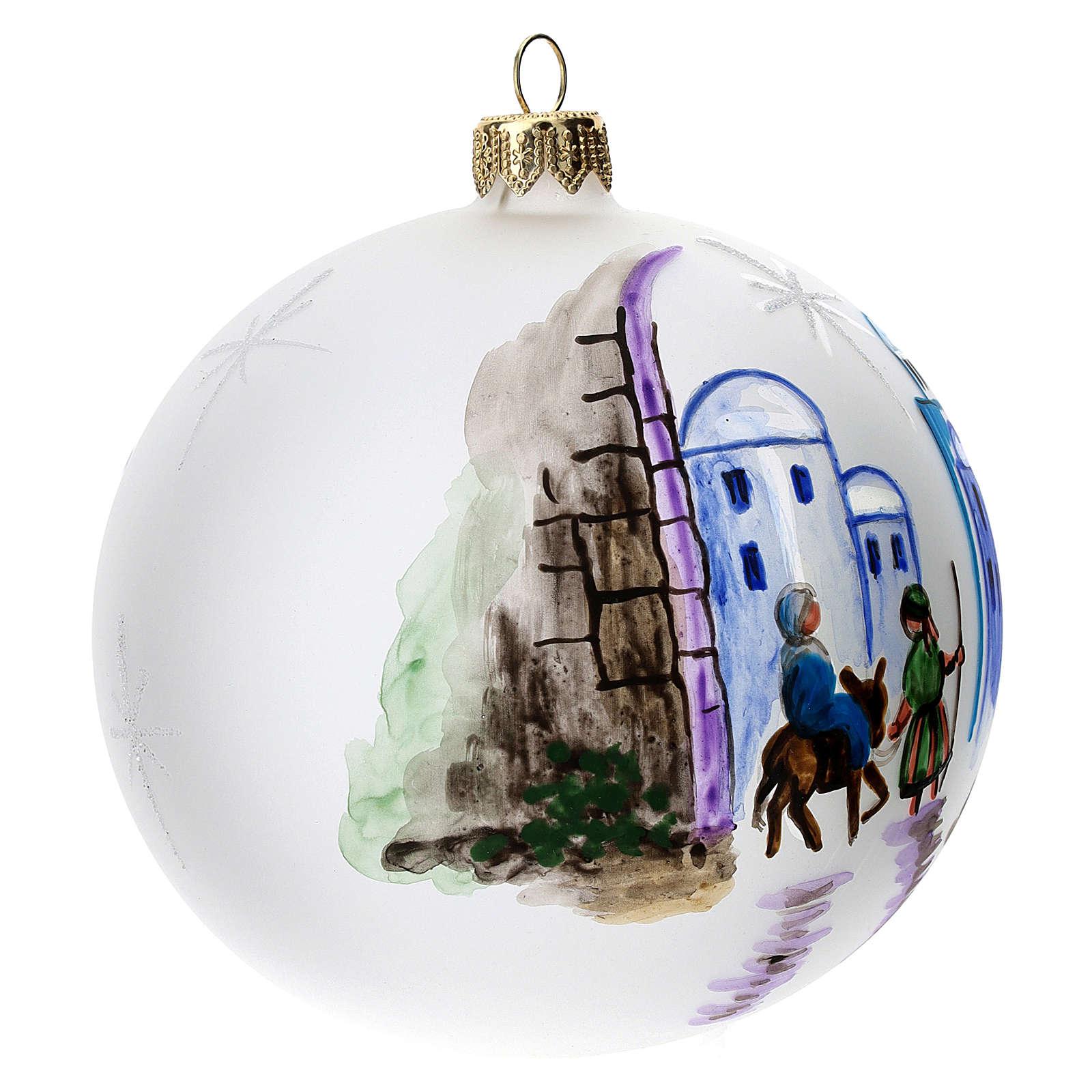 Palla albero Natale vetro soffiato opaca decoro Betlemme 100 mm 4