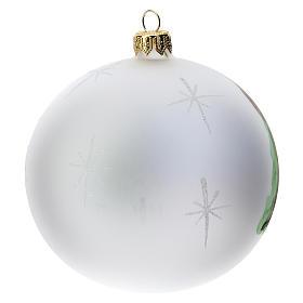 Palla albero Natale vetro soffiato opaca decoro Betlemme 100 mm s4