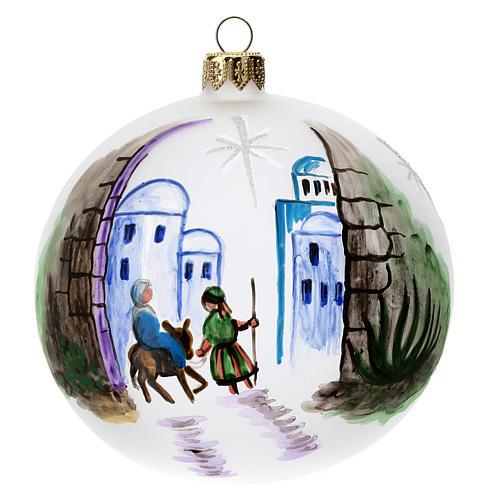Palla albero Natale vetro soffiato opaca decoro Betlemme 100 mm 1