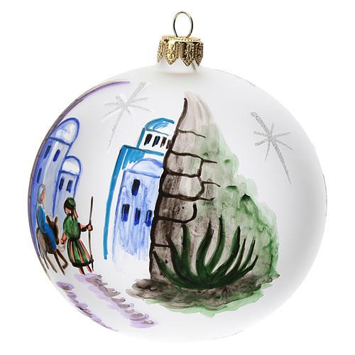 Palla albero Natale vetro soffiato opaca decoro Betlemme 100 mm 2