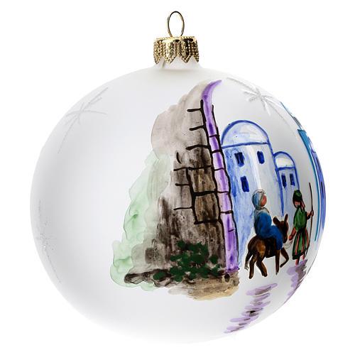 Palla albero Natale vetro soffiato opaca decoro Betlemme 100 mm 3