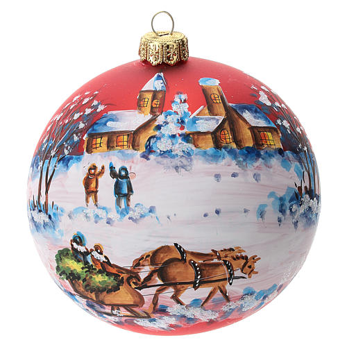 Bola árbol Navidad vidrio soplado roja motivo trineo papá Noel 100 mm 1
