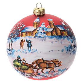 Palla albero Natale vetro soffiato rossa decoro slitta babbo Natale 100 mm s1