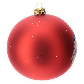 Palla albero Natale vetro soffiato rossa decoro slitta babbo Natale 100 mm s4