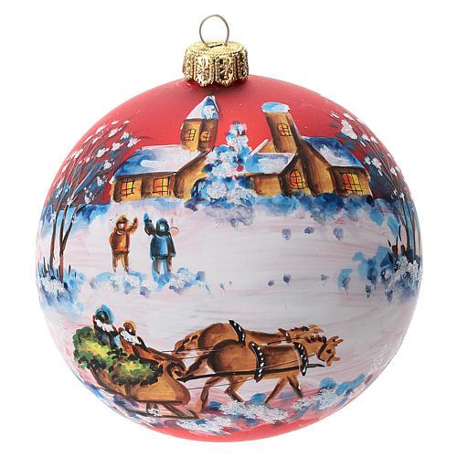 Palla albero Natale vetro soffiato rossa decoro slitta babbo Natale 100 mm 1