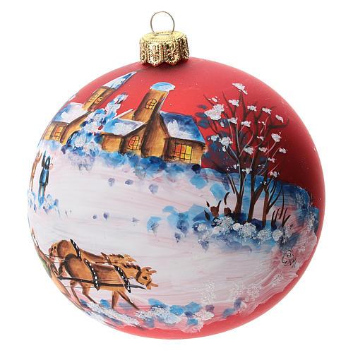 Palla albero Natale vetro soffiato rossa decoro slitta babbo Natale 100 mm 2