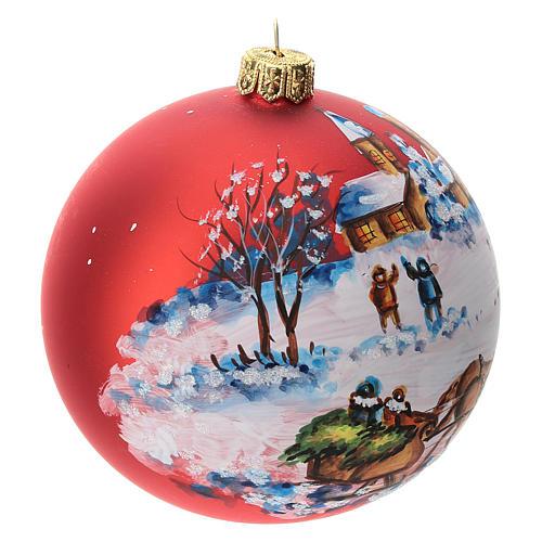 Palla albero Natale vetro soffiato rossa decoro slitta babbo Natale 100 mm 3