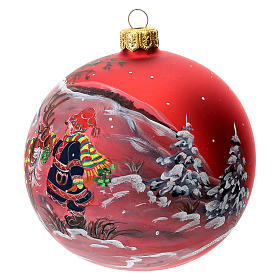 Christmas tree ball in blown glass: red Christmas decoration with Christmas reindeer, 100 mm s3