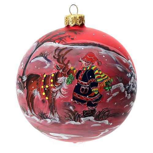 Palla albero Natale vetro soffiato rossa decoro renna natalizia 100 mm 1