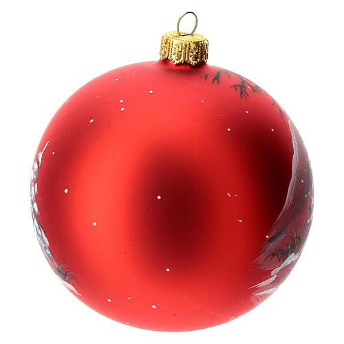 Palla albero Natale vetro soffiato rossa decoro renna natalizia 100 mm 4