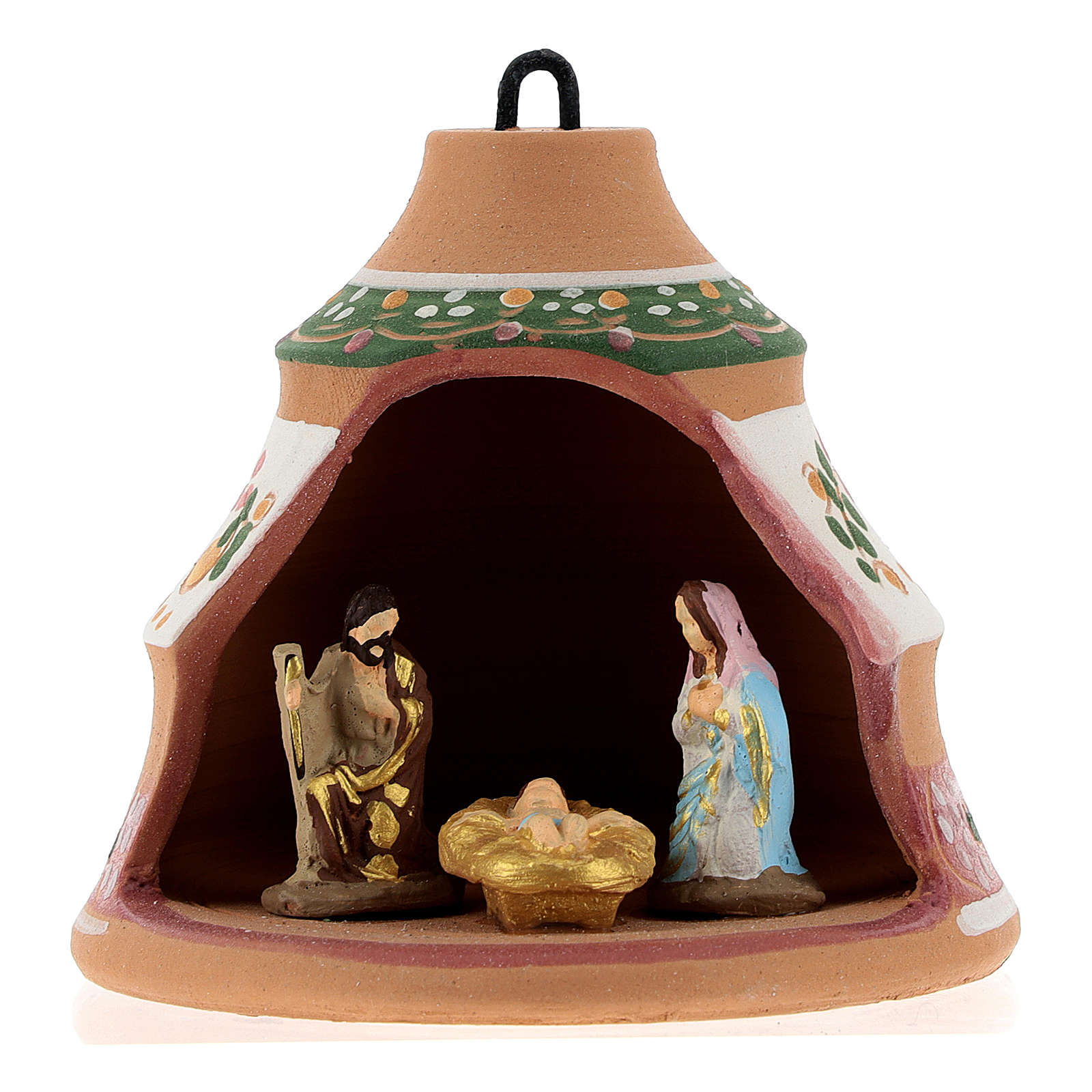 Christmas ball, pine-shaped shack with Nativity in painted Deruta terracotta 100 mm 4