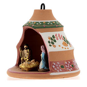 Christmas ball, pine-shaped shack with Nativity in painted Deruta terracotta 100 mm s3