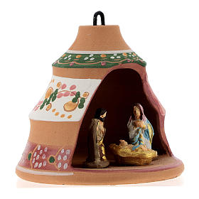 Christmas ball, pine-shaped shack with Nativity in painted Deruta terracotta 100 mm s4