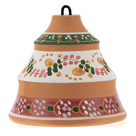 Christmas ball, pine-shaped shack with Nativity in painted Deruta terracotta 100 mm s5