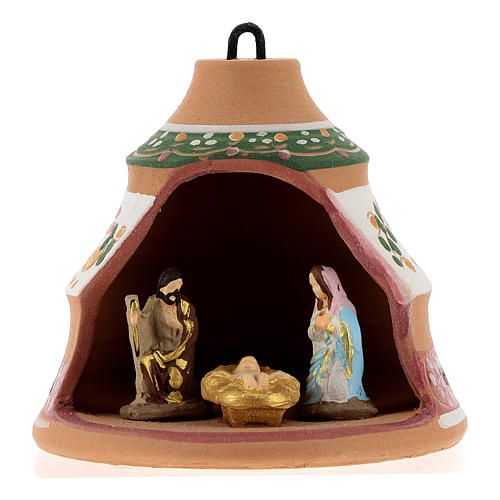 Christmas ball, pine-shaped shack with Nativity in painted Deruta terracotta 100 mm 1