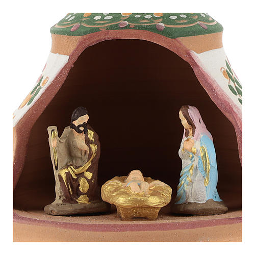 Christmas ball, pine-shaped shack with Nativity in painted Deruta terracotta 100 mm 2