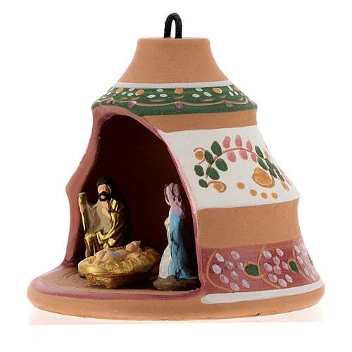 Christmas ball, pine-shaped shack with Nativity in painted Deruta terracotta 100 mm 3