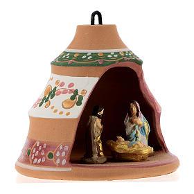Bola forma de pino de cerámica pintada rosa Deruta 100 mm s4