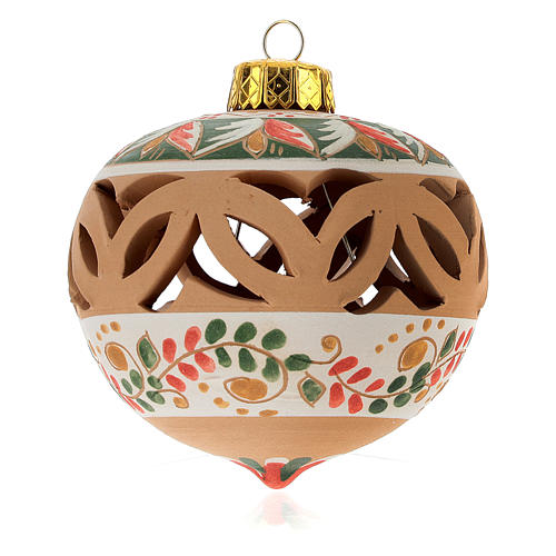 Christmas ball in terracotta from Deruta with decoration diam. 8 cm 1
