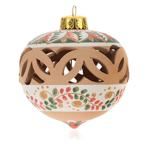 Christmas ball in terracotta from Deruta with decoration diam. 8 cm 2