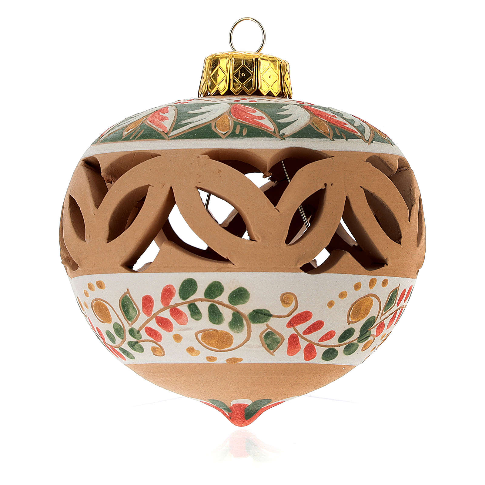 Bola de Natal perfurada em terracota Deruta 80 mm verde decorada 4