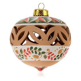 Bola de Natal perfurada em terracota Deruta 80 mm verde decorada s1