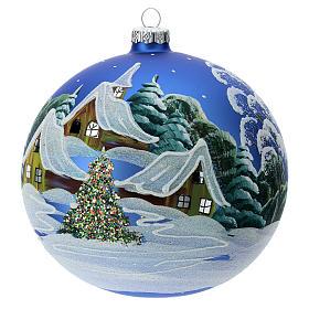 STOCK Bola vidrio soplado 150 mm azul decoración paisaje nevado s2