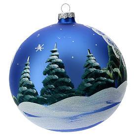STOCK Bola vidrio soplado 150 mm azul decoración paisaje nevado s4