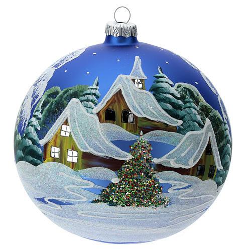 STOCK Bola vidrio soplado 150 mm azul decoración paisaje nevado 1